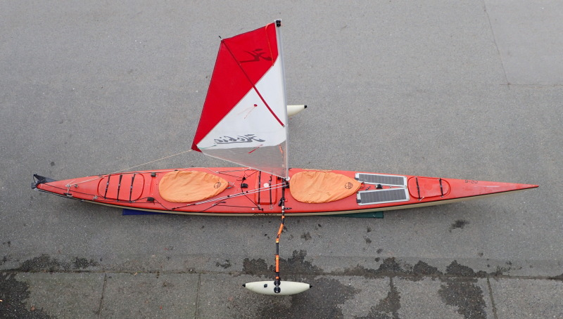 kayak with Hobie sail and Sidekick outriggers.JPG